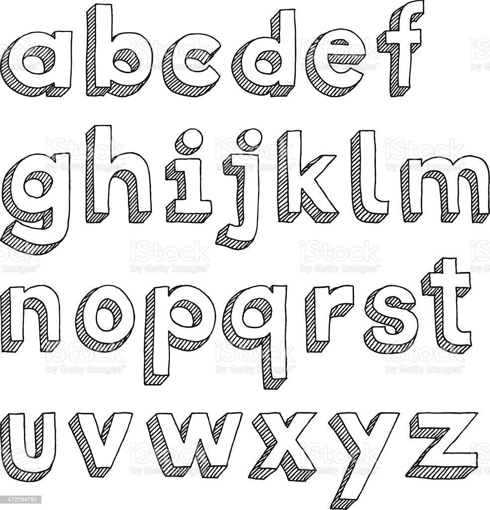 Hand-drawn lower-case alphabet in Sans Serif font vector art illustration