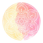 Outline Mandala decorative round ornament, with Watercolor background - Vector Ornament.