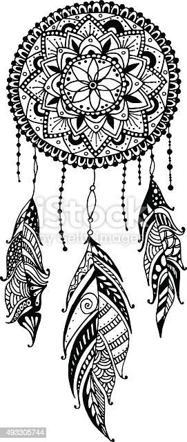 Handdrawn mandala dreamcatcher with feathers ethnic for Acchiappasogni disegno