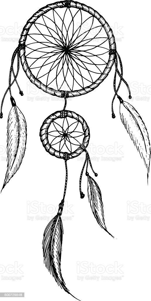 Mano disegno mandala con piume etnico tribale for Acchiappasogni disegno