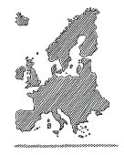 Hand-drawn vector drawing of a loose Hand-Drawn Map of Europe in black. Black-and-White sketch on a transparent background (.eps-file). Included files are EPS (v10) and Hi-Res JPG.