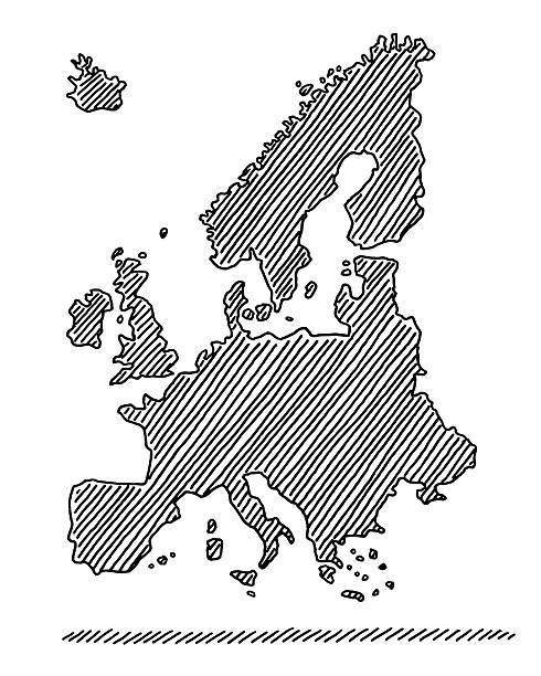 hand-drawn karte europa in schwarz abbildung - ostsee stock-grafiken, -clipart, -cartoons und -symbole