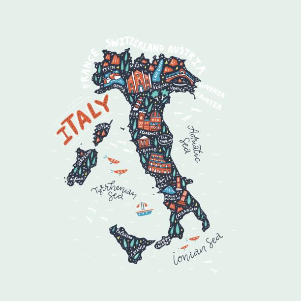 handgezeichneten karte von italien - italien stock-grafiken, -clipart, -cartoons und -symbole