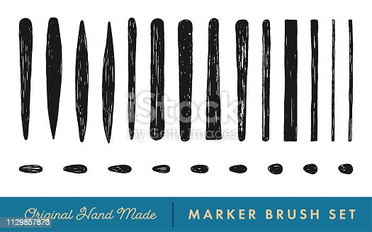 Black Hand-Drawn Marker Brush Vector Set for Caligraphic Lettering, Doodle and Sketch on the White Background