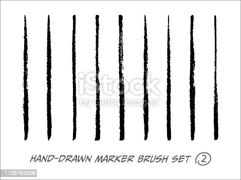 Hand-Drawn Marker Brush Vector Set on the White Background