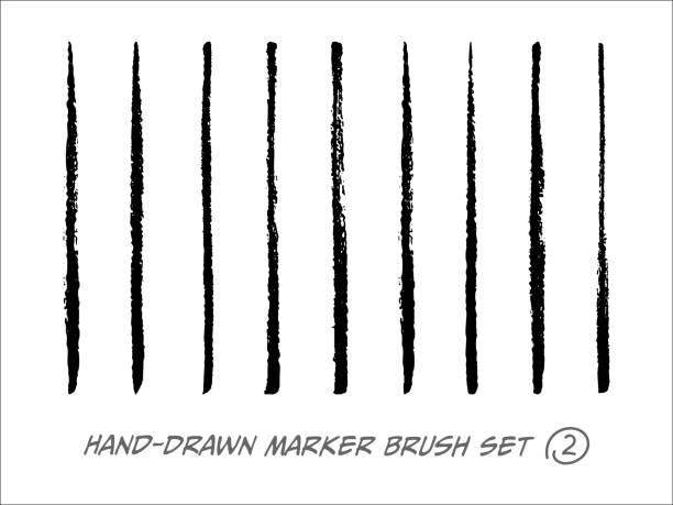 ręcznie rysowany zestaw wektorów pędzla markerów - linia stock illustrations
