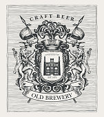 Hand-drawn banner with coat arms for old brewery and craft beer. Suitable for brewery, pub and bar design. Vector heraldry with lions, spears, knightly helmet, shield and brewery facade