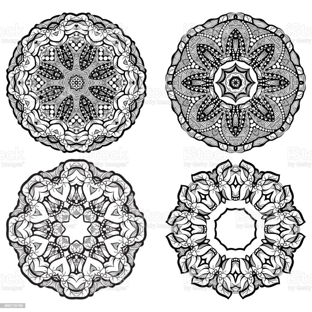 3ccac41e58aa7 Colección de mandala y elementos ornamentales mehendi dibujado a mano.  Conjunto de tatuaje de henna