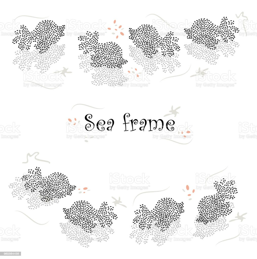 Handgezeichnete Moderne Vektor Rahmen Mit Flora Und Fauna Des ...
