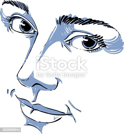Handdrawn Monochrome Portrait Of Delicate Dreamy Woman Stock Vector Art & More Images of Adult 635699944