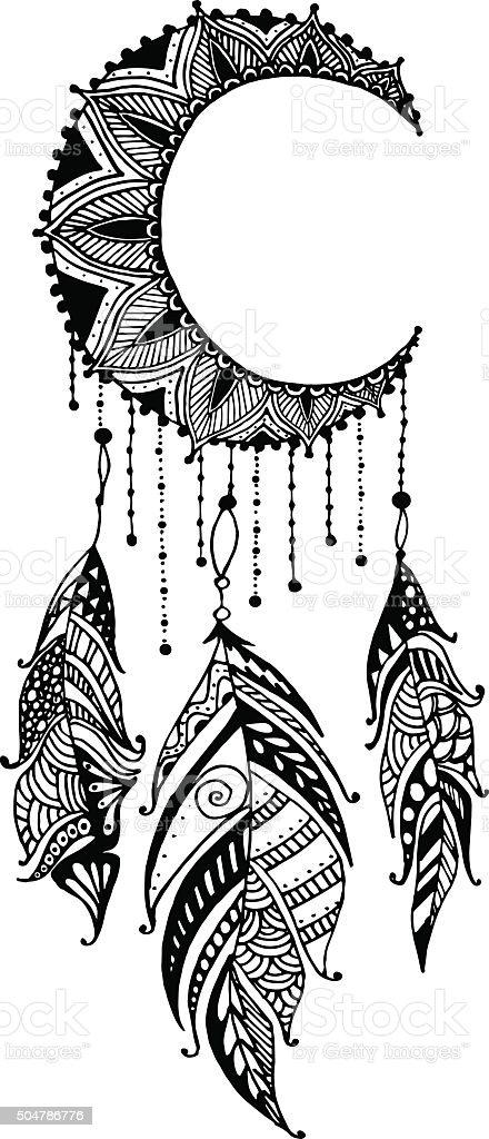 disegnate a mano luna mandala acchiappasogni con piume