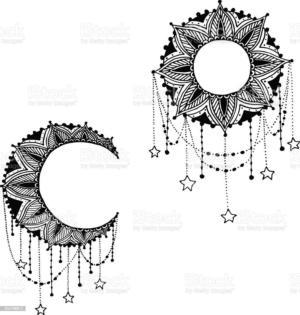 Dessiné à La Main De Lune Soleil Portebonheur Indien Mandala Avec ...