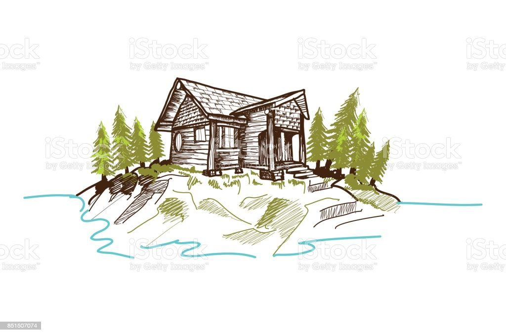 Hand-drawn mountain cabin vector art illustration