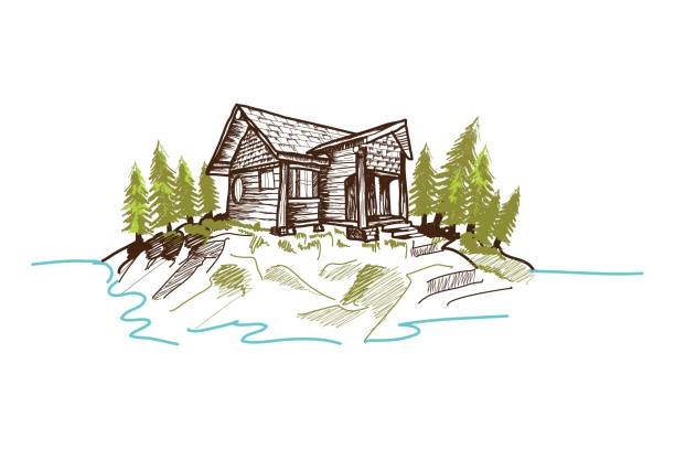 hand-drawn mountain cabin - log cabin stock illustrations, clip art, cartoons, & icons