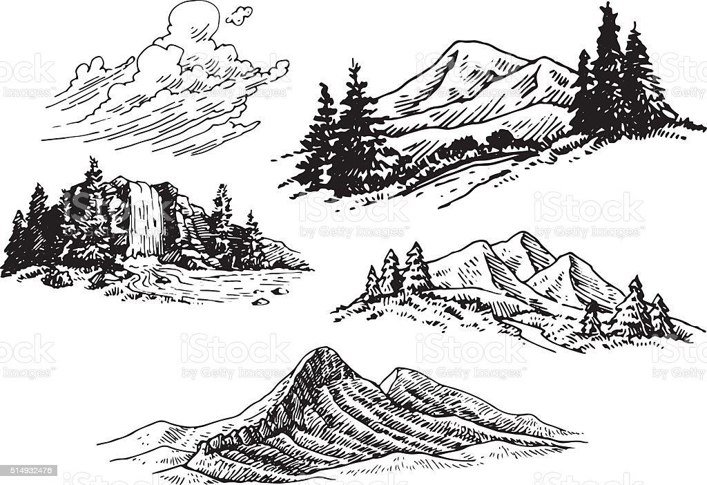 手描きのイラスト山 いたずら書きのベクターアート素材や画像を多数ご