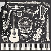 Retro set of drawing vector contours musical instruments and notes on chalkboard grunge background.