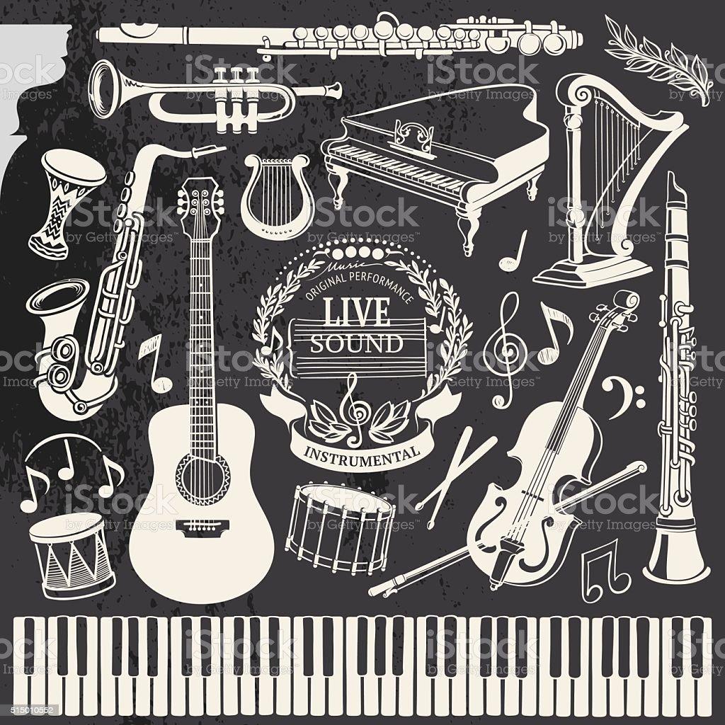 Hand-drawn Music Instruments vector art illustration