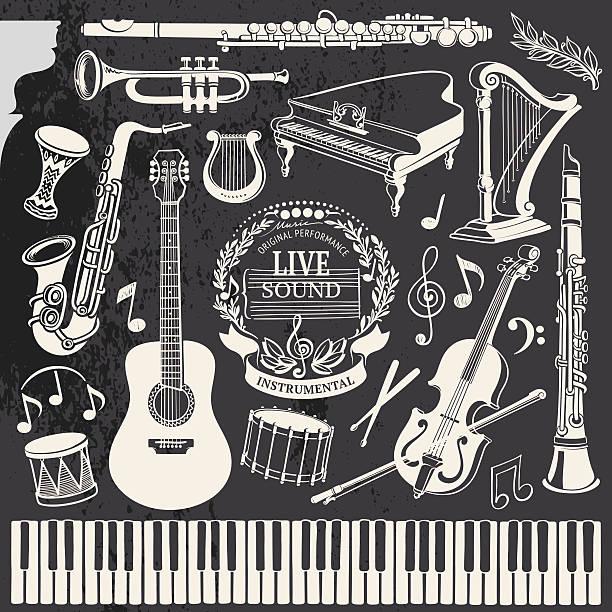 ręcznie rysowane instrumenty muzyczne - klarnet stock illustrations