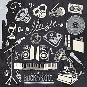 Music lover's objects and equipment and musical symbols in chalk-drawing style.