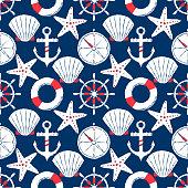 istock Hand-drawn nautical seamless illustration. 1294906137
