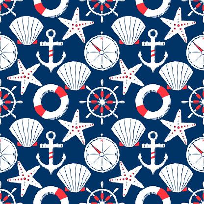 Hand-drawn nautical seamless illustration.