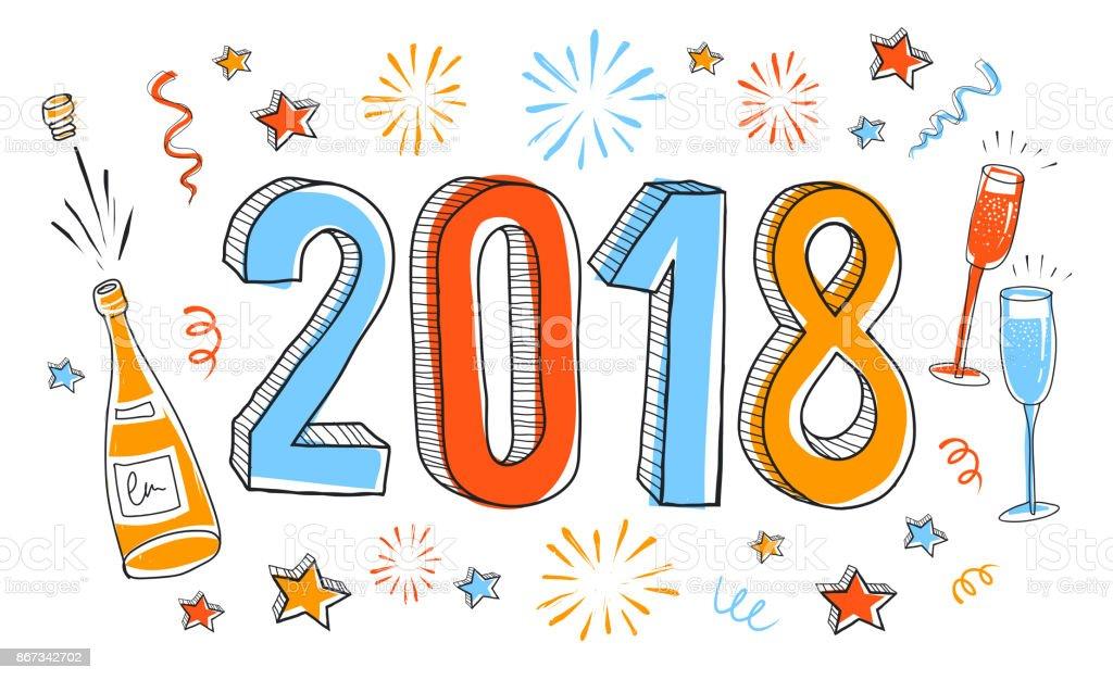 シャンパンとシャンパン グラスのボトルと手描きの年賀状 2018年の
