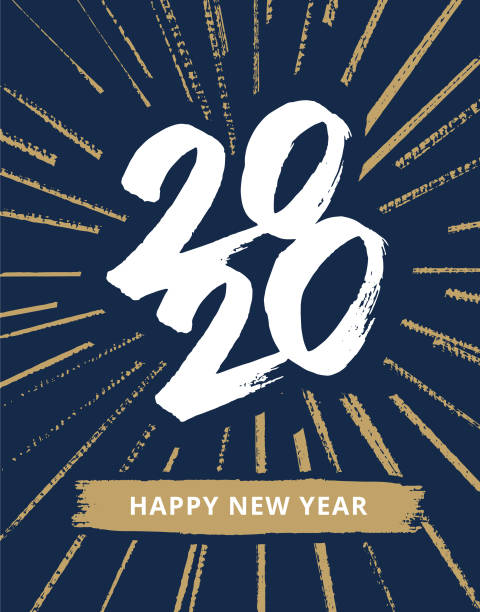hand-drawn new year's card 2020 with fireworks - anniversary drawings stock illustrations