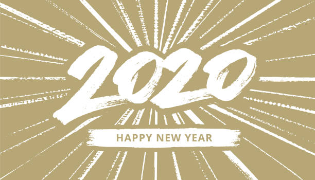 hand-drawn New Year's card 2020 with fireworks vector art illustration