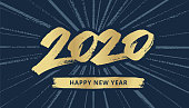 New Year typography 2020.  You can edit the colors or sizes easily if you have Adobe Illustrator or other vector software. All shapes are vector