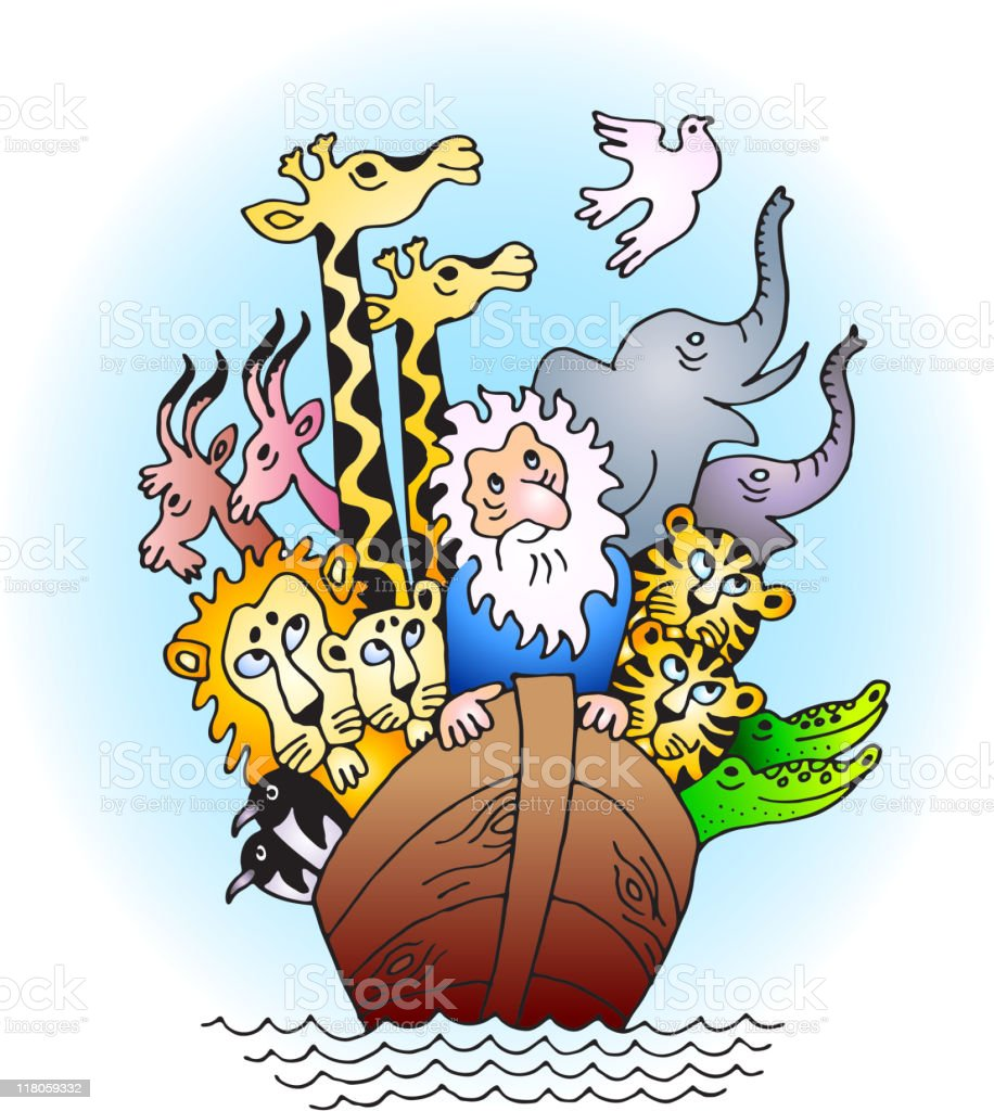 Hand-drawn Noah's Ark with animals royalty-free stock vector art