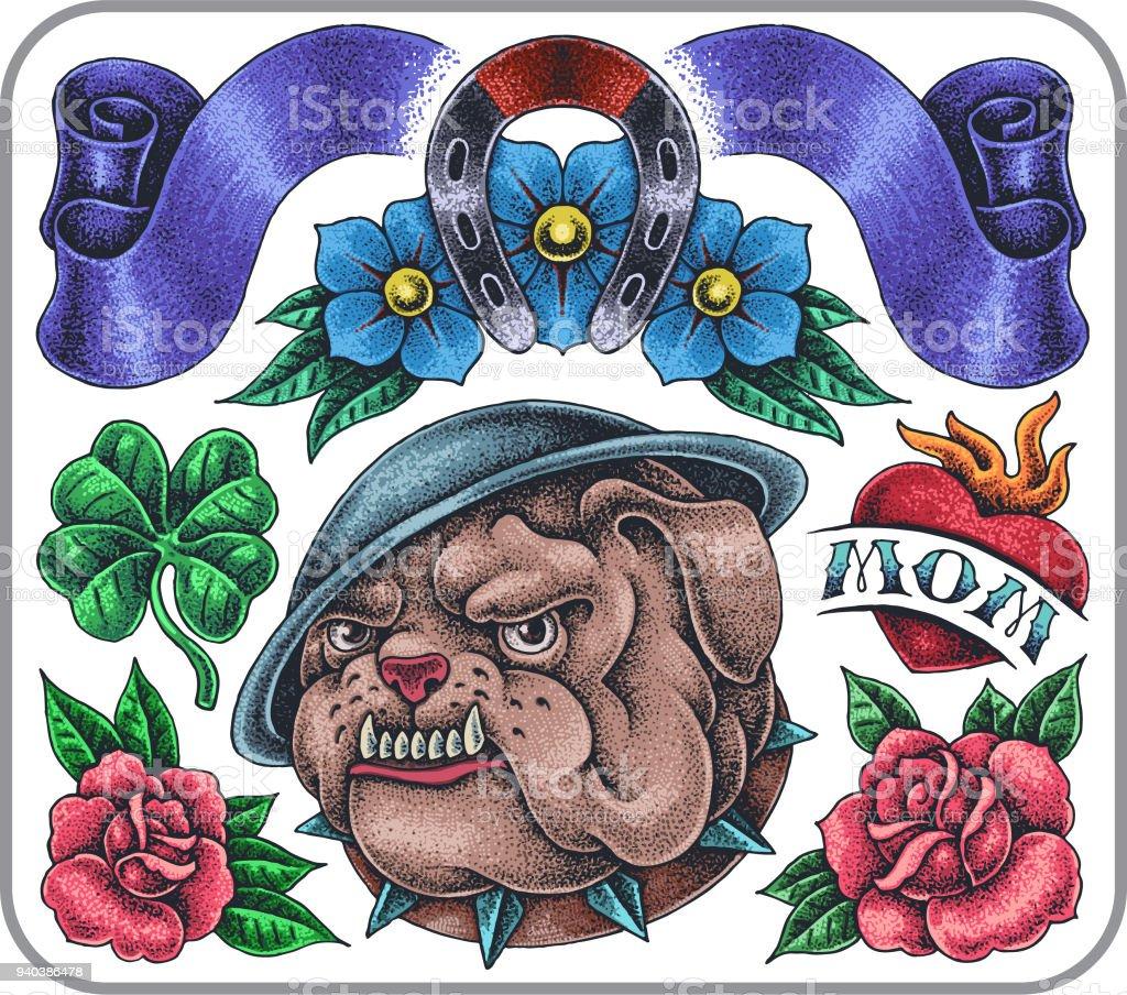 Conjunto de tatuagem desenhados à mão à moda antiga de bulldog zangado com colarinho cravado. - ilustração de arte em vetor