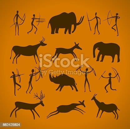 Hand-drawn pattern of cave drawings. ancient petroglyphs. Vector illustration.