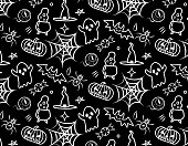 Abstract seamless halloween pattern. Creative vector background with cobwebs, eye,bat, ghost,pumpkin. Funny pattern for textile and fabric. Fashion halloween witch style. White drawing on a black background.Design for wrapping paper, paper packaging, textiles, holiday party invitations, greeting card, messenger chat background