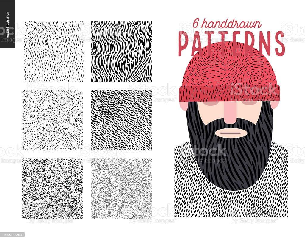 Handdrawn patterns set - ilustración de arte vectorial
