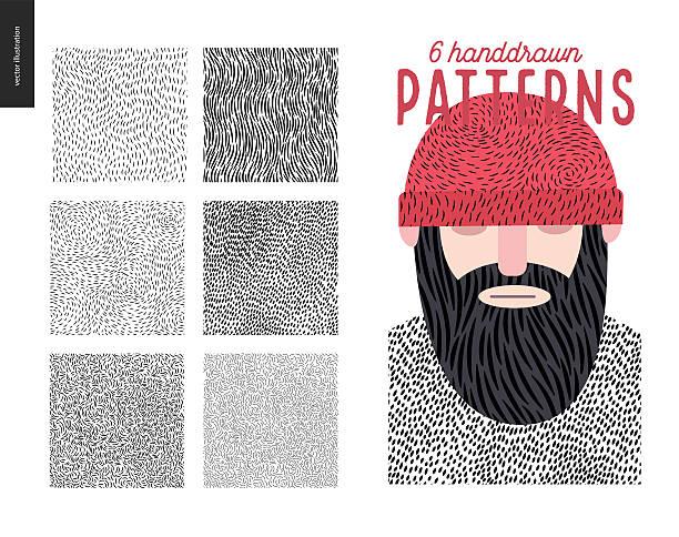 ilustrações, clipart, desenhos animados e ícones de handdrawn patterns set - barba