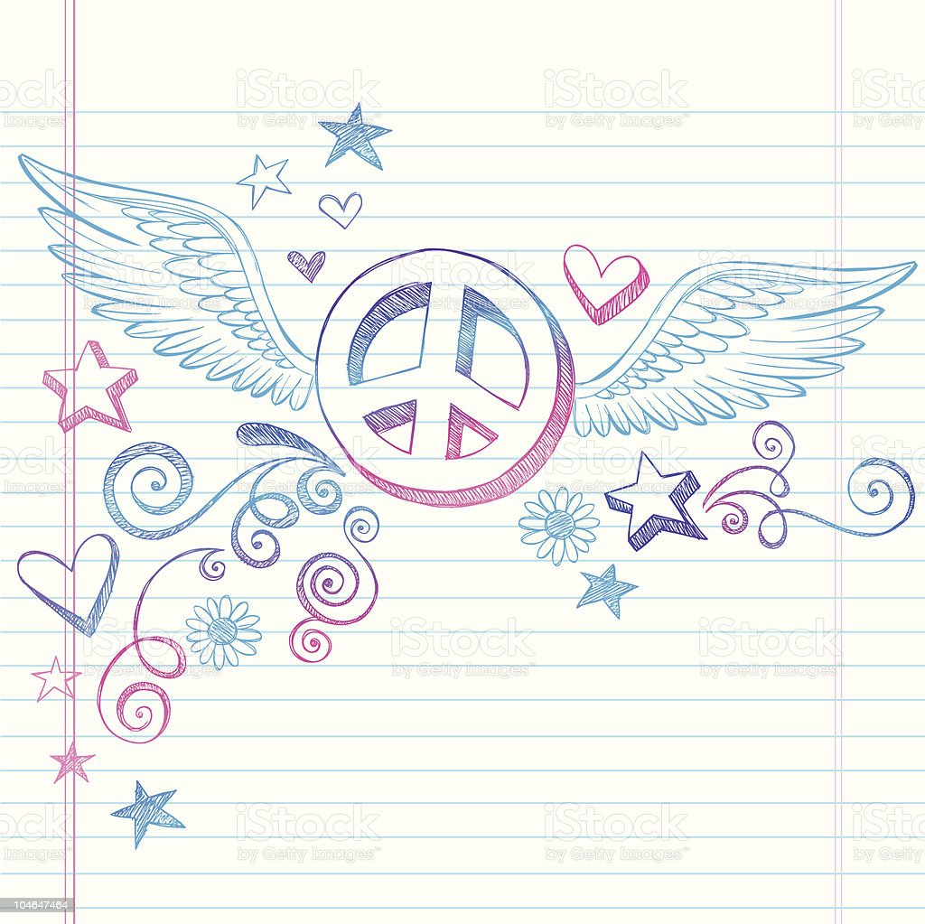 Hand-Drawn Peace Sign with Wings Doodle vector art illustration