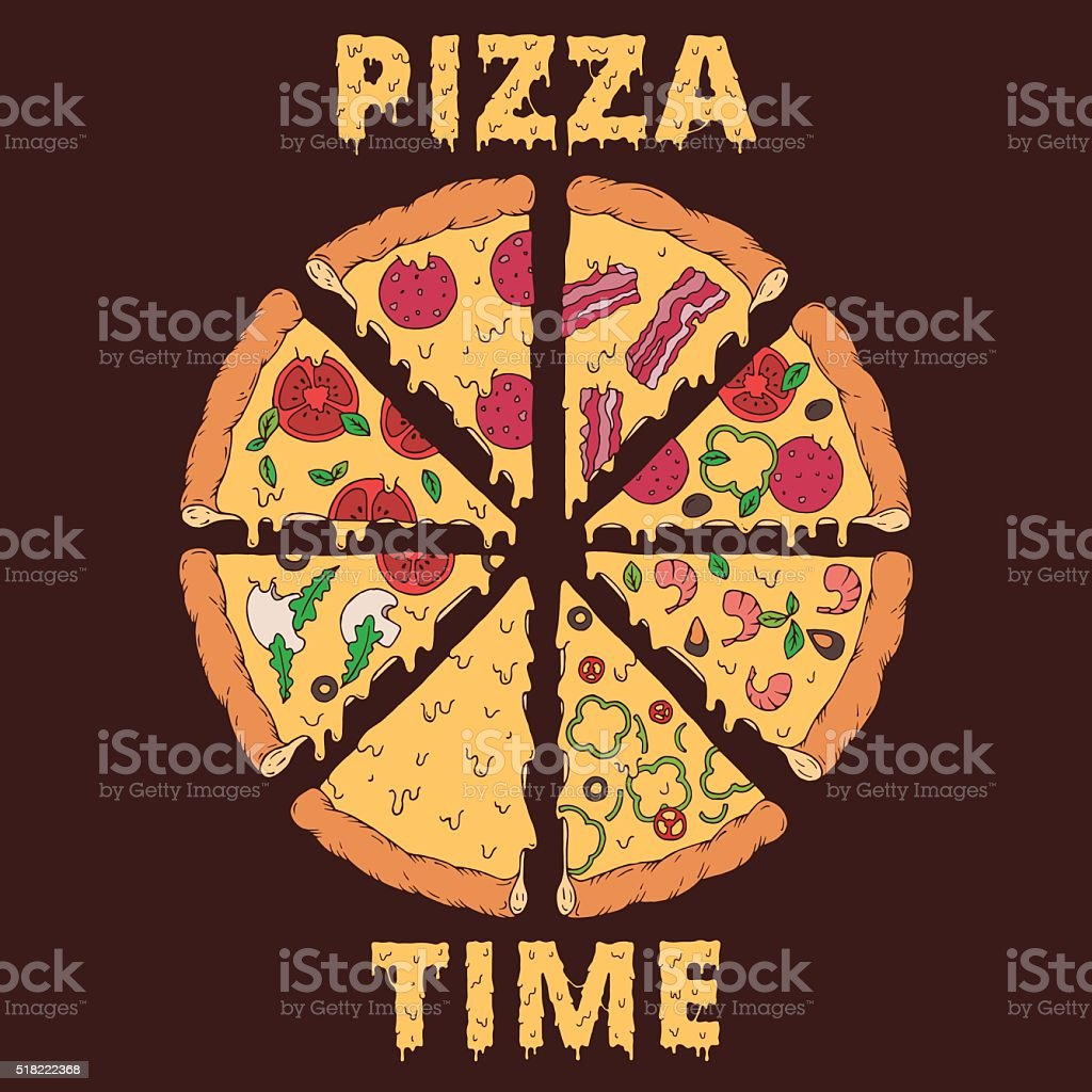 Hand-drawn pizza slices vector art illustration