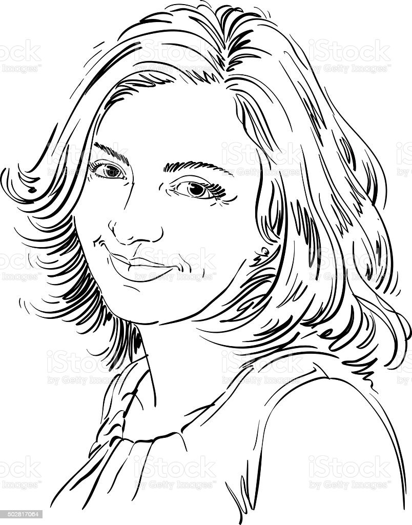 Line Drawing Face Woman : Handdrawn portrait of whiteskin smiling woman face
