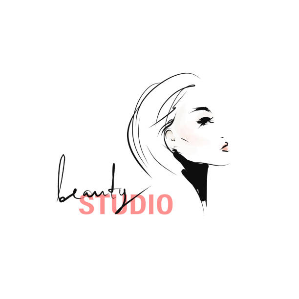 ilustrações de stock, clip art, desenhos animados e ícones de hand-drawn portrait of young stylish woman. beautiful girl with makeup and hairstyle - woman make up
