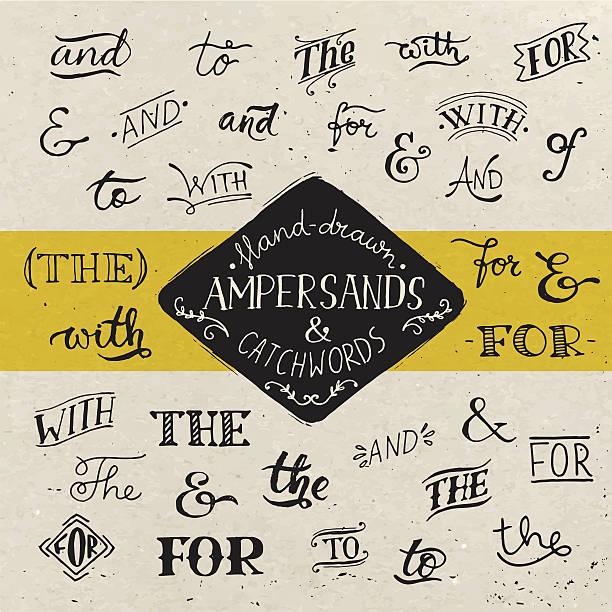 stockillustraties, clipart, cartoons en iconen met hand-drawn poster with ampersands and catchwords. - borden en symbolen