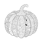 Hand-drawn pumpkin decorated with patterns, zentangle pattern, antistress coloring book for adults, halloween decor.