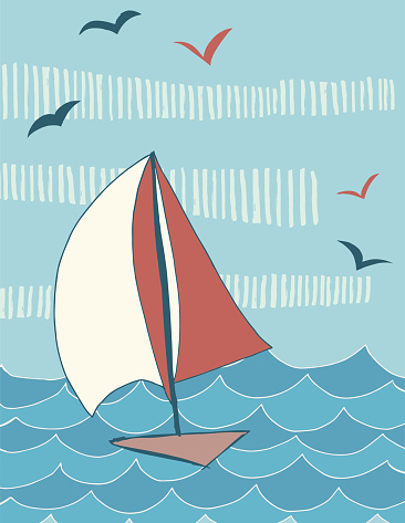Handdrawn Sailing Scene