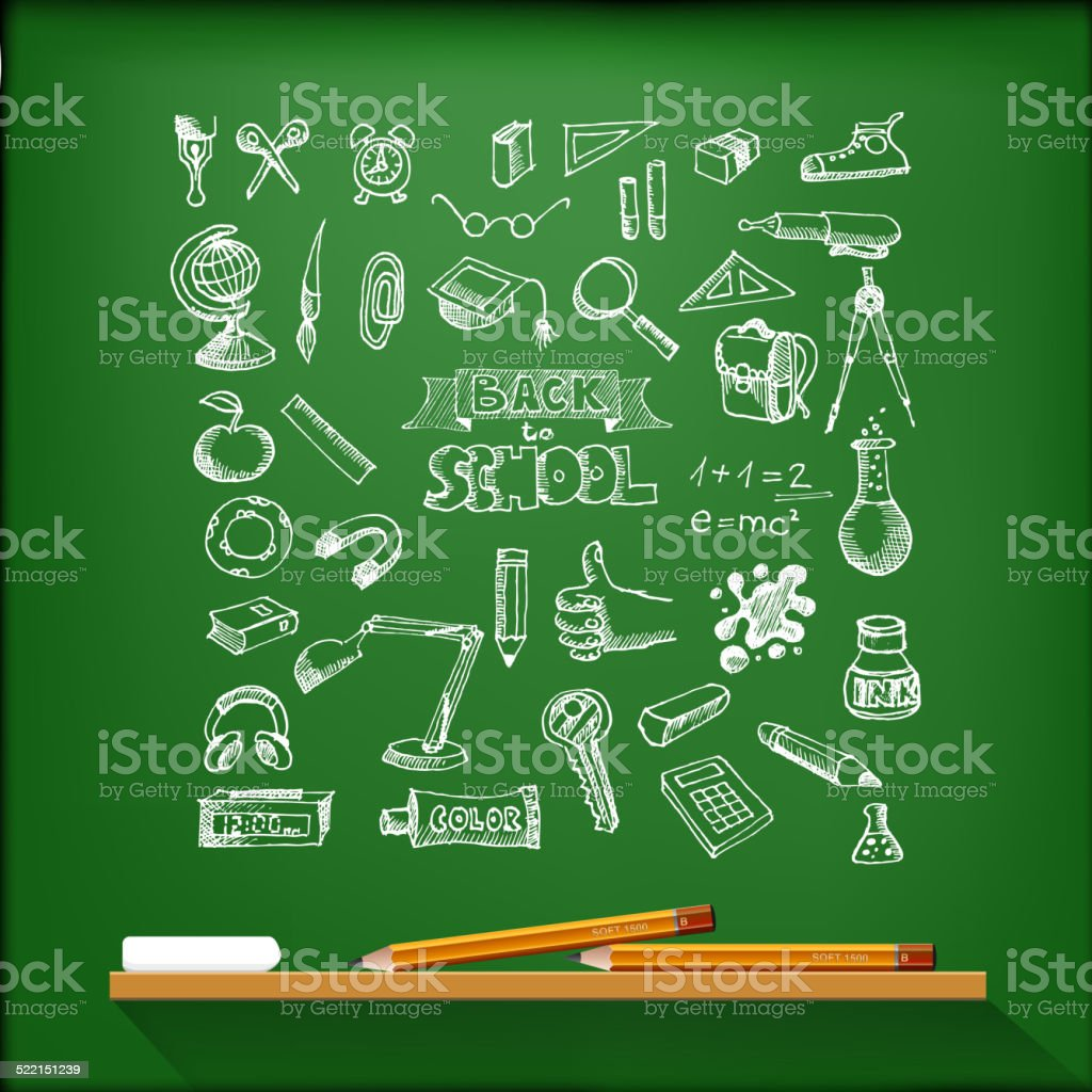 Hand-drawn school set. With pencils and chalk vector art illustration