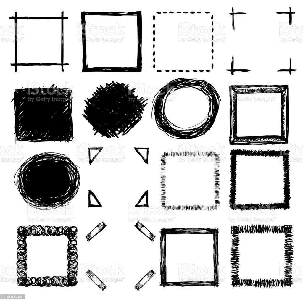 Esbozo de fotogramas dibujados a mano y esquinas - ilustración de arte vectorial