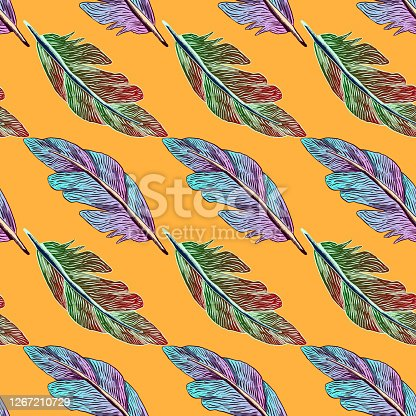 Hand-drawn seamless graphic illustration - Motley multicolored feathers.
