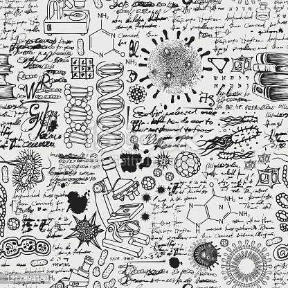 Vector seamless pattern on the theme of chemistry, biology, genetics, medicine. Hand-drawn background with sketches, doodles, illegible entries and notes. Black and white illustration in retro style
