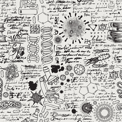 Hand-drawn seamless pattern on the science theme