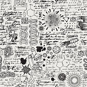 istock Hand-drawn seamless pattern on the science theme 1217894158