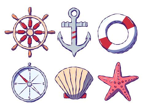 Hand-drawn set of icons on the marine theme.