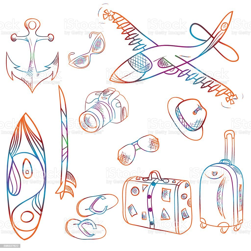 Hand-drawn set of icons summer and vacation background, vector royalty-free handdrawn set of icons summer and vacation background vector stock vector art & more images of abstract
